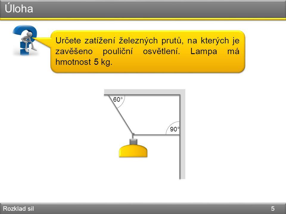 Úloha Rozklad sil 5 Určete zatížení železných prutů, na kterých je zavěšeno pouliční osvětlení. Lampa má hmotnost 5 kg. 60° 90°