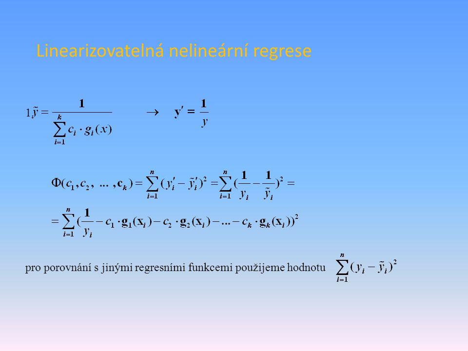 Linearizovatelná nelineární regrese 1. pro porovnání s jinými regresními funkcemi použijeme hodnotu