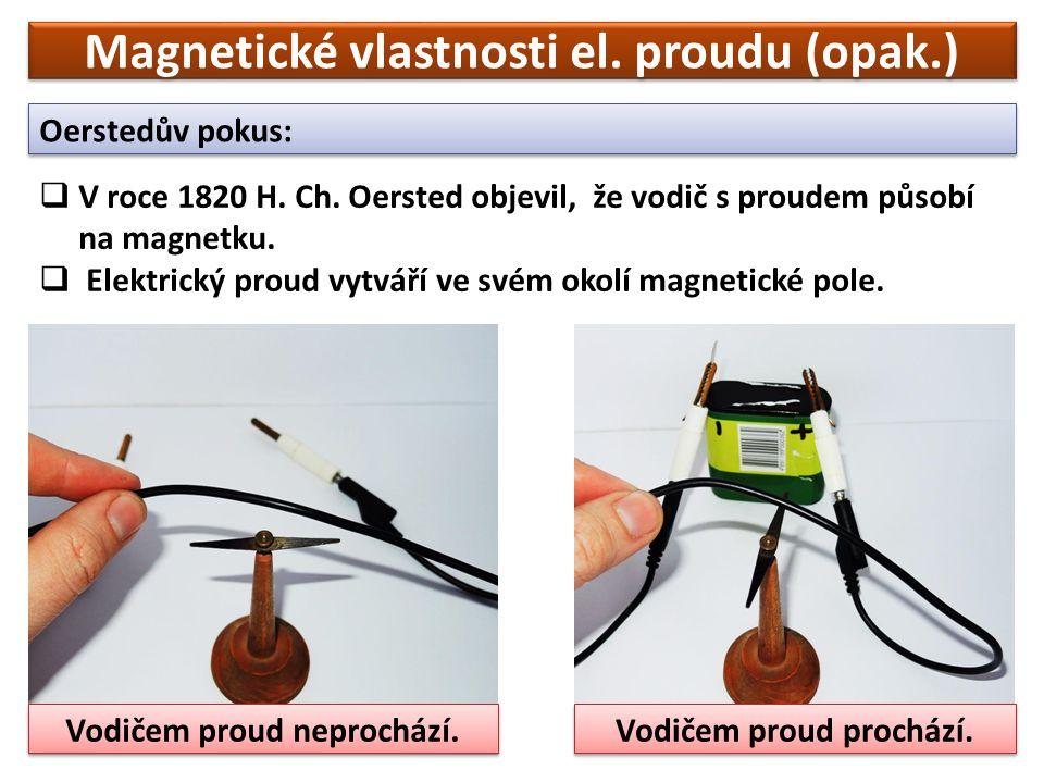 Magnetické vlastnosti el. proudu (opak.) Oerstedův pokus:  V roce 1820 H.