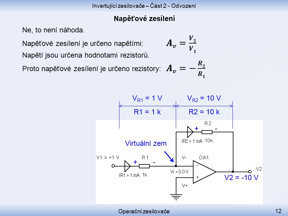 V R2 = 10 V + +- - V2 = -10 V V R1 = 1 V R1 = 1 k R2 = 10 k Invertující zesilovače – Část 2 - Odvození Operační zesilovače 12 Virtuální zem