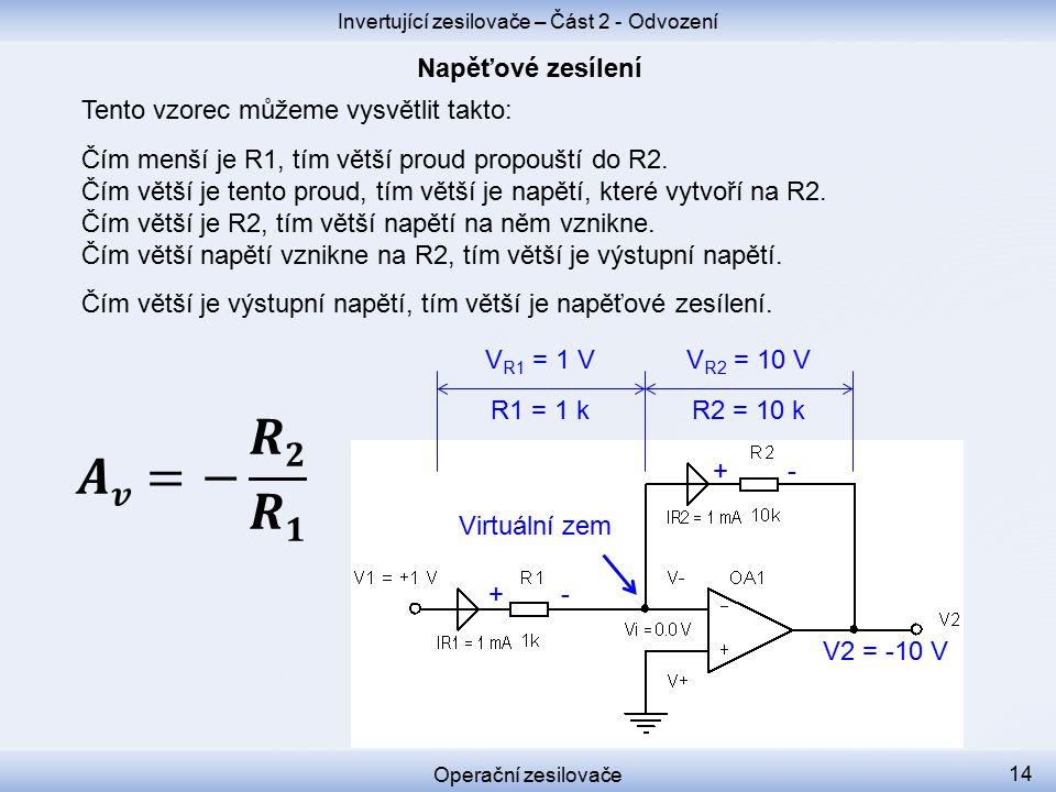 Tento vzorec můžeme vysvětlit takto: Čím menší je R1, tím větší proud propouští do R2.