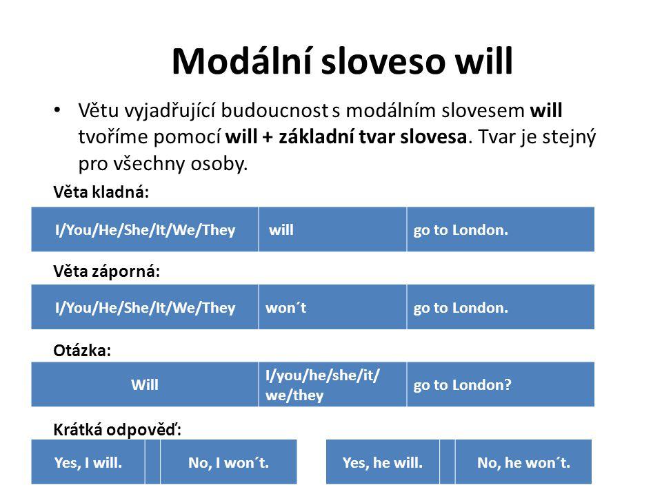 Větu vyjadřující budoucnost s modálním slovesem will tvoříme pomocí will + základní tvar slovesa.