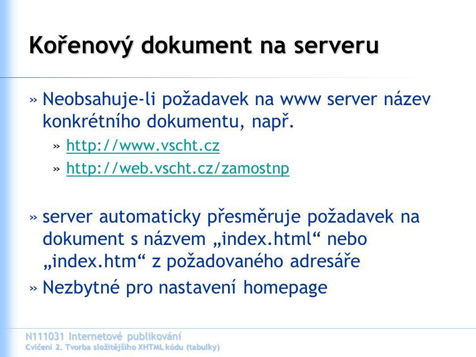 N111031 Internetové publikování Cvičení 2. Tvorba složitějšího XHTML kódu (tabulky) Kořenový dokument na serveru »Neobsahuje-li požadavek na www serve