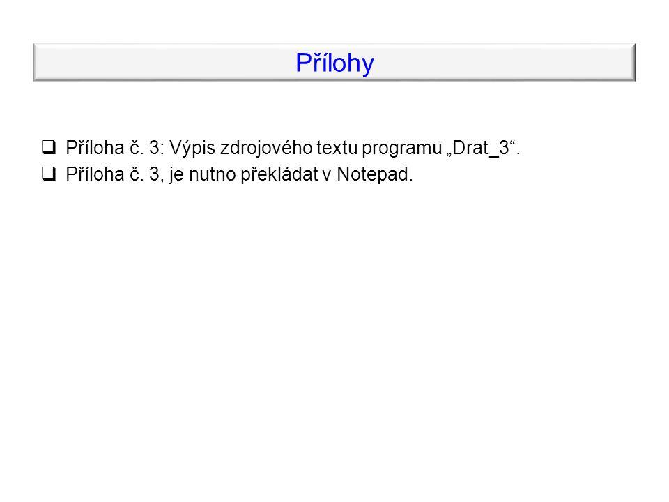 """Přílohy  Příloha č. 3: Výpis zdrojového textu programu """"Drat_3 ."""