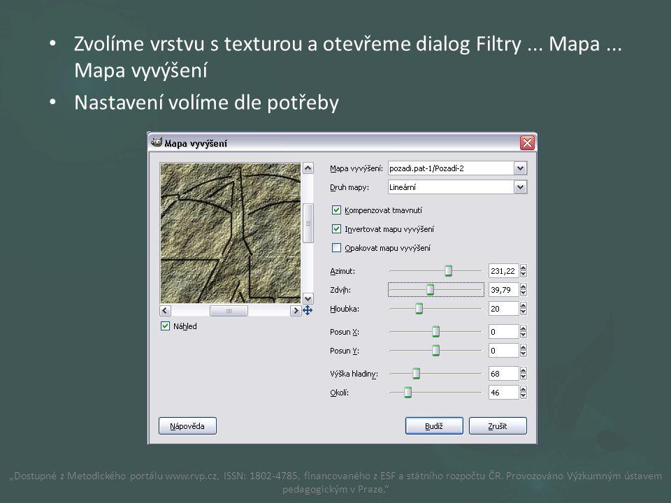 Zvolíme vrstvu s texturou a otevřeme dialog Filtry...