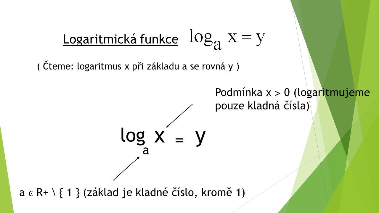 Logaritmická funkce ( Čteme: logaritmus x při základu a se rovná y ) log a x = y Podmínka x ˃ 0 (logaritmujeme pouze kladná čísla) a R+ \ { 1 } (základ je kladné číslo, kromě 1)