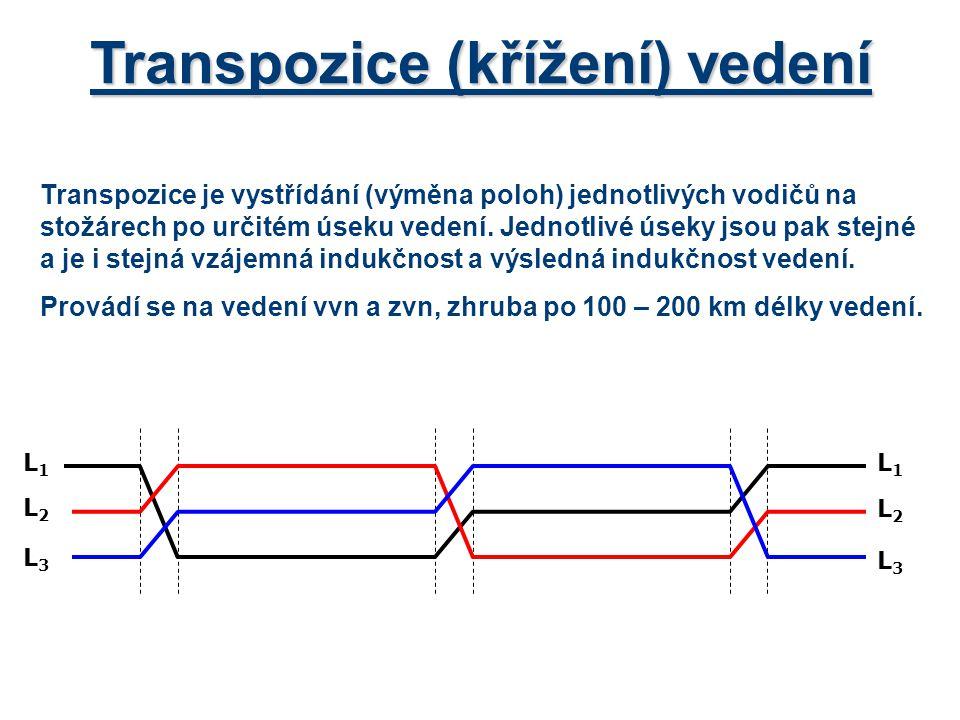 Transpozice (křížení) vedení Transpozice je vystřídání (výměna poloh) jednotlivých vodičů na stožárech po určitém úseku vedení. Jednotlivé úseky jsou