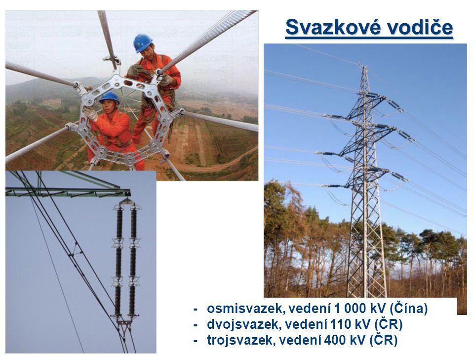 Svazkové vodiče - osmisvazek, vedení 1 000 kV (Čína) -dvojsvazek, vedení 110 kV (ČR) -trojsvazek, vedení 400 kV (ČR)