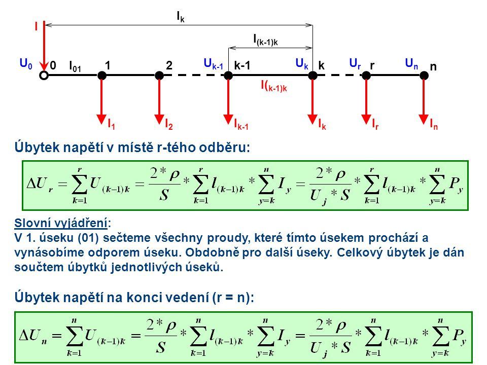 21kk-10 IrIr n r IkIk I k-1 I2I2 I1I1 InIn I( k-1)k l (k-1)k lklk I U0U0 l 01 UkUk U k-1 UnUn UrUr Úbytek napětí v místě r-tého odběru: Úbytek napětí