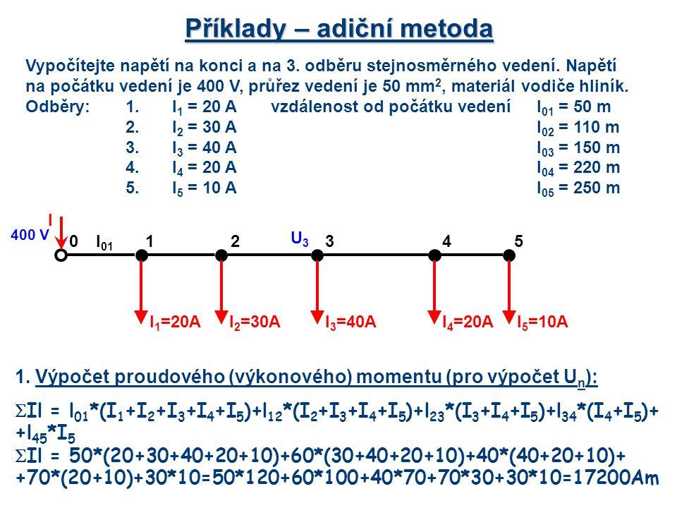 Příklady – adiční metoda Vypočítejte napětí na konci a na 3. odběru stejnosměrného vedení. Napětí na počátku vedení je 400 V, průřez vedení je 50 mm 2