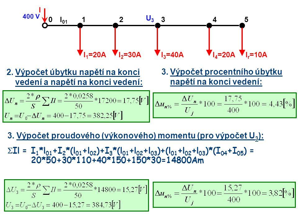 2.Výpočet úbytku napětí na konci vedení a napětí na konci vedení: 21430 I r =10A 5 I 4 =20AI 3 =40AI 2 =30AI 1 =20A I 400 V l 01 U3U3 3.Výpočet procen