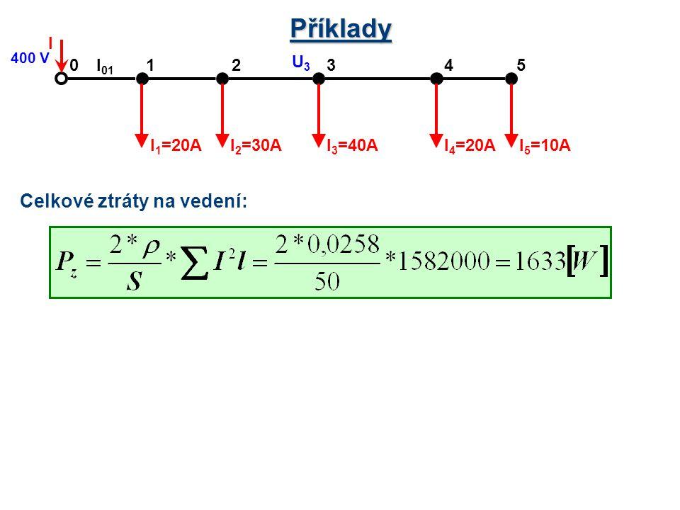 Příklady 21430 I 5 =10A 5 I 4 =20AI 3 =40AI 2 =30AI 1 =20A I 400 V l 01 U3U3 Celkové ztráty na vedení: