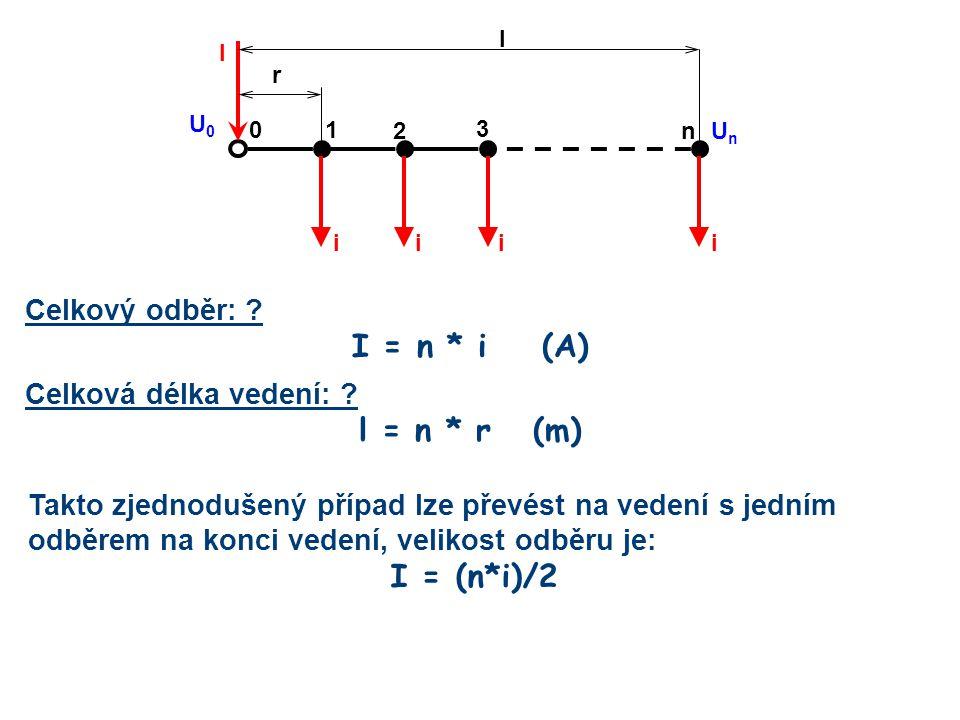 Celkový odběr: ? I = n * i (A) Celková délka vedení: ? l = n * r (m) 2 10 n iiii l I U0U0 UnUn 3 r Takto zjednodušený případ lze převést na vedení s j