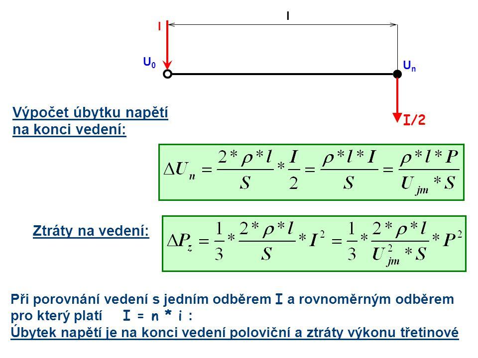 Výpočet úbytku napětí na konci vedení: I/2 l I U0U0 UnUn Ztráty na vedení: Při porovnání vedení s jedním odběrem I a rovnoměrným odběrem pro který pla