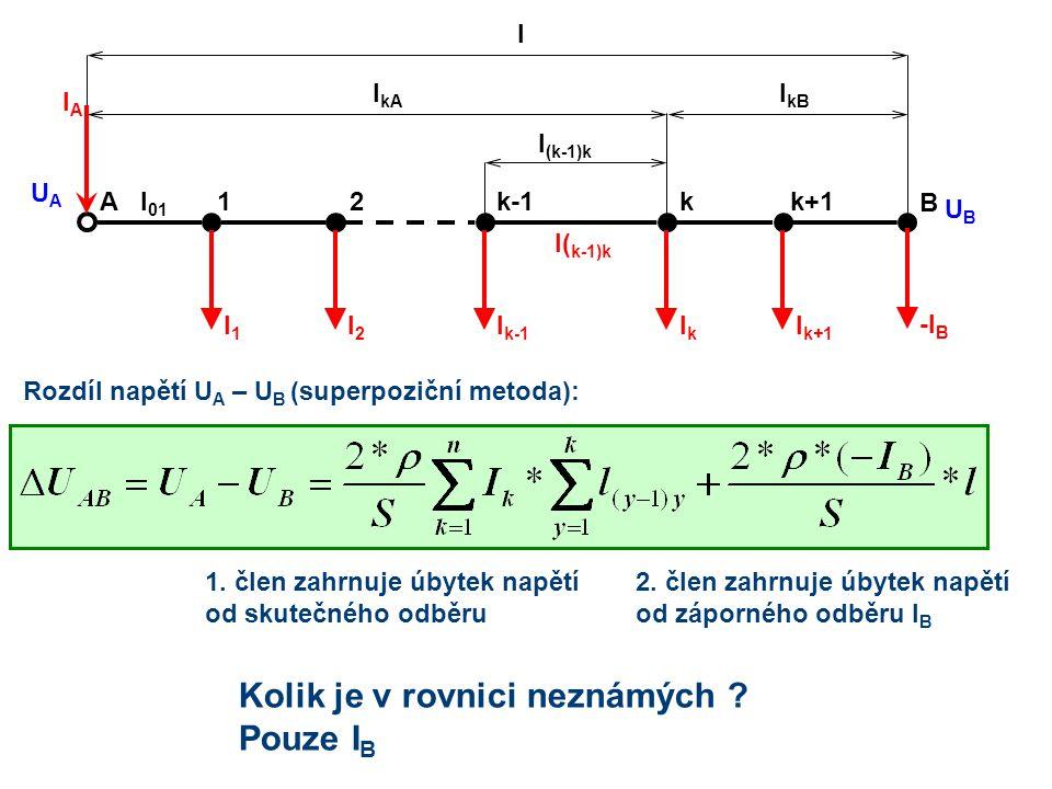 Rozdíl napětí U A – U B (superpoziční metoda): 21kk-1A I k+1 B k+1 IkIk I k-1 I2I2 I1I1 I( k-1)k l (k-1)k l kA IAIA l 01 UAUA UBUB -I B l kB l 1. člen