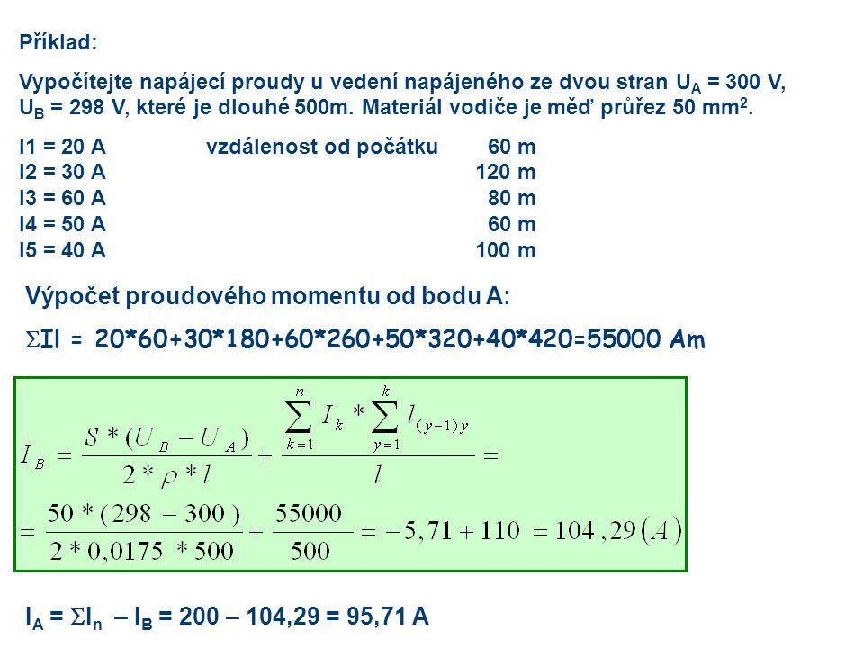Výpočet proudového momentu od bodu A:  Il = 20*60+30*180+60*260+50*320+40*420=55000 Am Příklad: Vypočítejte napájecí proudy u vedení napájeného ze dv