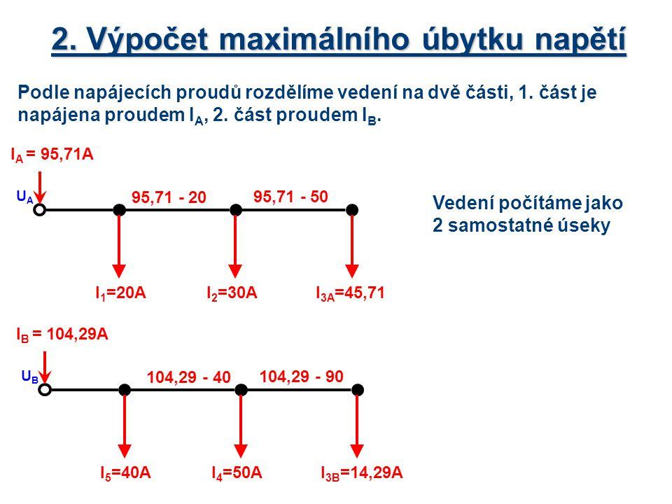 2. Výpočet maximálního úbytku napětí Podle napájecích proudů rozdělíme vedení na dvě části, 1. část je napájena proudem I A, 2. část proudem I B. I 3A
