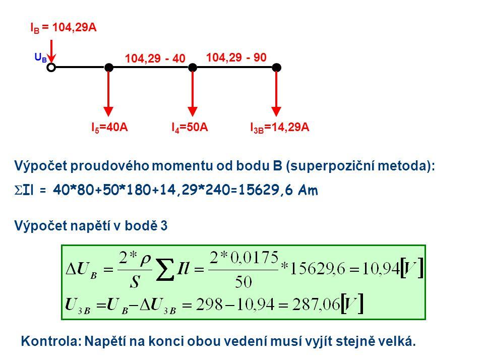 Výpočet proudového momentu od bodu B (superpoziční metoda):  Il = 40*80+50*180+14,29*240=15629,6 Am I 3B =14,29AI 4 =50AI 5 =40A I B = 104,29A UBUB 1