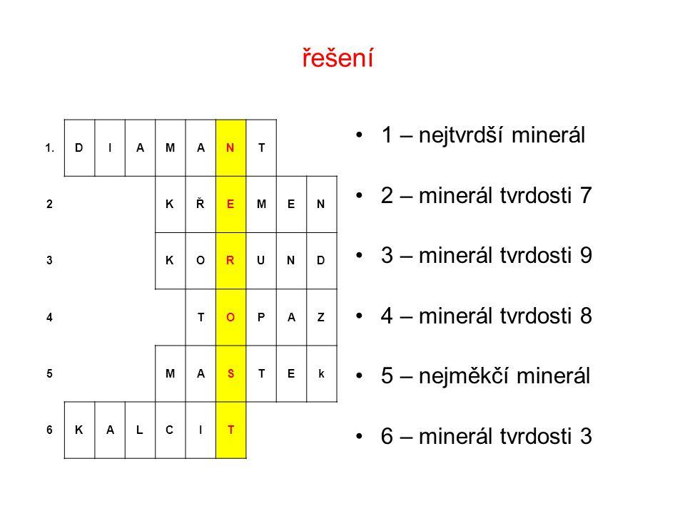 řešení 1 – nejtvrdší minerál 2 – minerál tvrdosti 7 3 – minerál tvrdosti 9 4 – minerál tvrdosti 8 5 – nejměkčí minerál 6 – minerál tvrdosti 3 1.DIAMAN