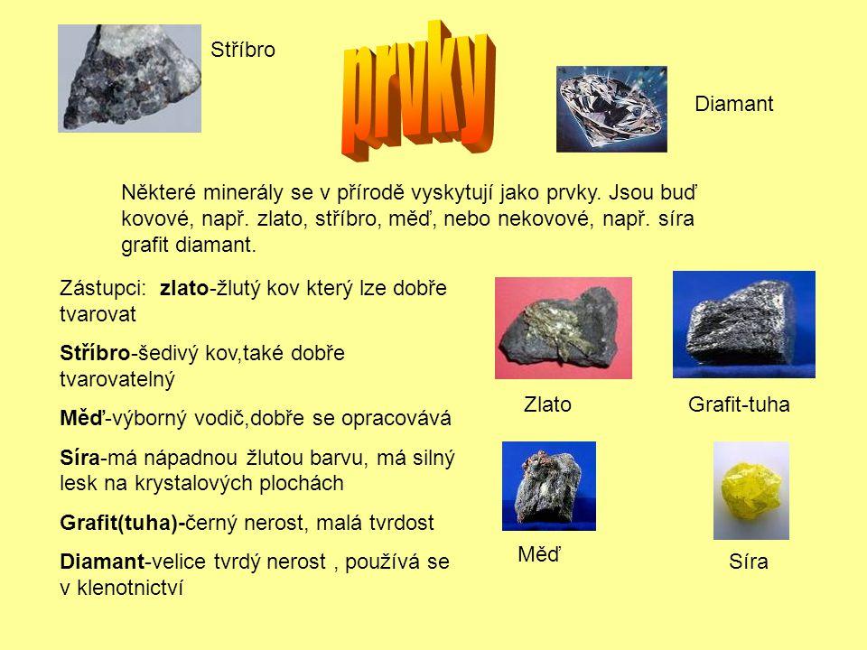 Stříbro Grafit-tuhaZlato Některé minerály se v přírodě vyskytují jako prvky. Jsou buď kovové, např. zlato, stříbro, měď, nebo nekovové, např. síra gra
