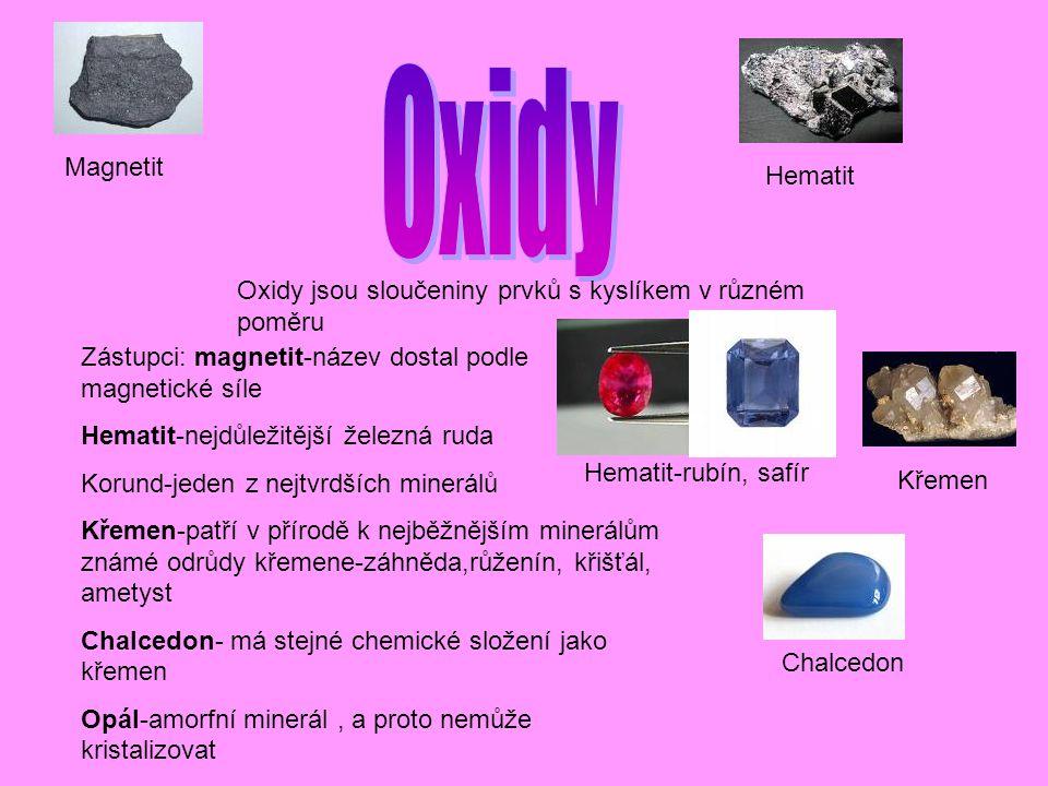 Oxidy jsou sloučeniny prvků s kyslíkem v různém poměru Zástupci: magnetit-název dostal podle magnetické síle Hematit-nejdůležitější železná ruda Korund-jeden z nejtvrdších minerálů Křemen-patří v přírodě k nejběžnějším minerálům známé odrůdy křemene-záhněda,růženín, křišťál, ametyst Chalcedon- má stejné chemické složení jako křemen Opál-amorfní minerál, a proto nemůže kristalizovat Magnetit Hematit Hematit-rubín, safír Křemen Chalcedon