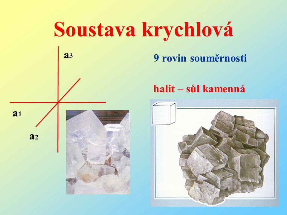 Soustava krychlová 9 rovin souměrnosti halit – sůl kamenná a1a1 a2a2 a3a3