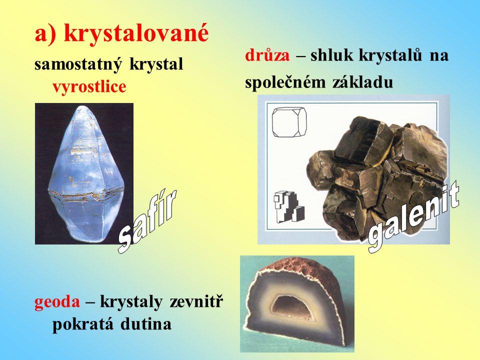 a) krystalované samostatný krystal vyrostlice geoda – krystaly zevnitř pokratá dutina drůza – shluk krystalů na společném základu