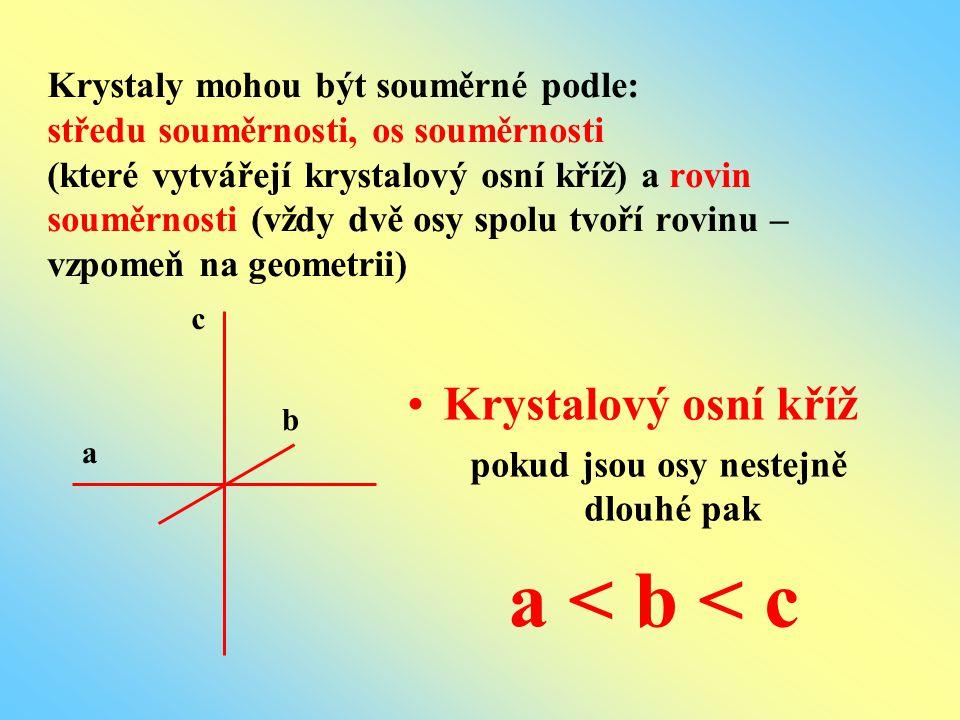 Krystaly mohou být souměrné podle: středu souměrnosti, os souměrnosti (které vytvářejí krystalový osní kříž) a rovin souměrnosti (vždy dvě osy spolu t