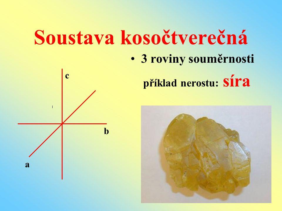 Soustava kosočtverečná 3 roviny souměrnosti příklad nerostu: síra b c a