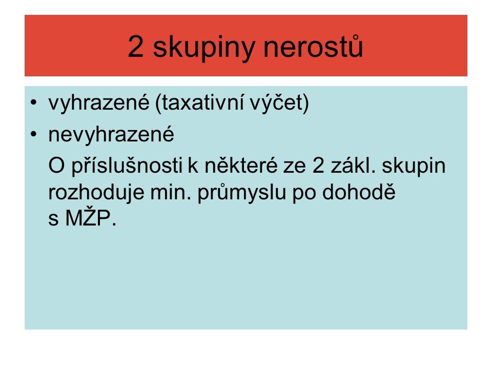 2 skupiny nerostů vyhrazené (taxativní výčet) nevyhrazené O příslušnosti k některé ze 2 zákl.