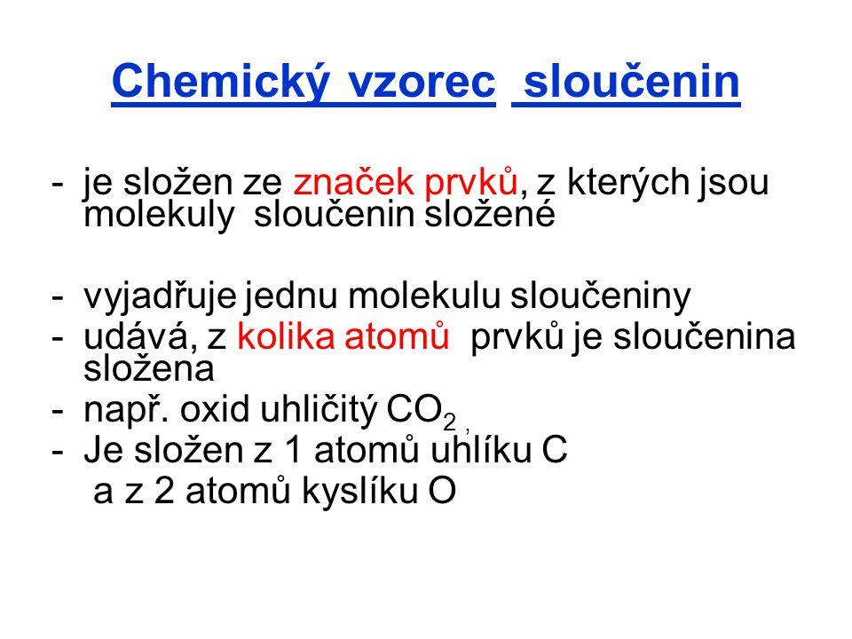 Chemický vzorec sloučenin -je složen ze značek prvků, z kterých jsou molekuly sloučenin složené -vyjadřuje jednu molekulu sloučeniny -udává, z kolika