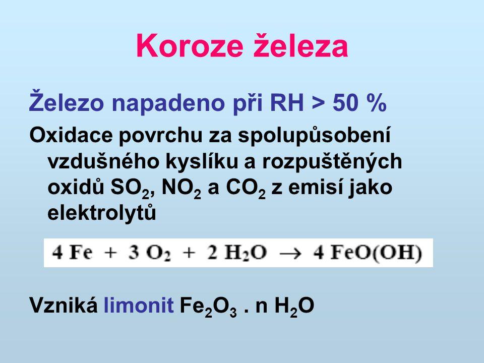 Koroze železa Železo napadeno při RH > 50 % Oxidace povrchu za spolupůsobení vzdušného kyslíku a rozpuštěných oxidů SO 2, NO 2 a CO 2 z emisí jako elektrolytů Vzniká limonit Fe 2 O 3.