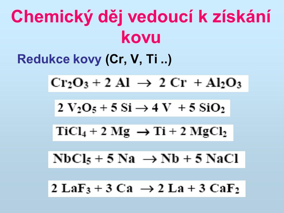 Tepelný rozklad (Ni, Zr, Ba, Hg) Elektrolýza tavenin (Al, Ca, Na, Li..) Elektrolýza roztoků (Cu, Au, Zn) Chemický děj vedoucí k získání kovu