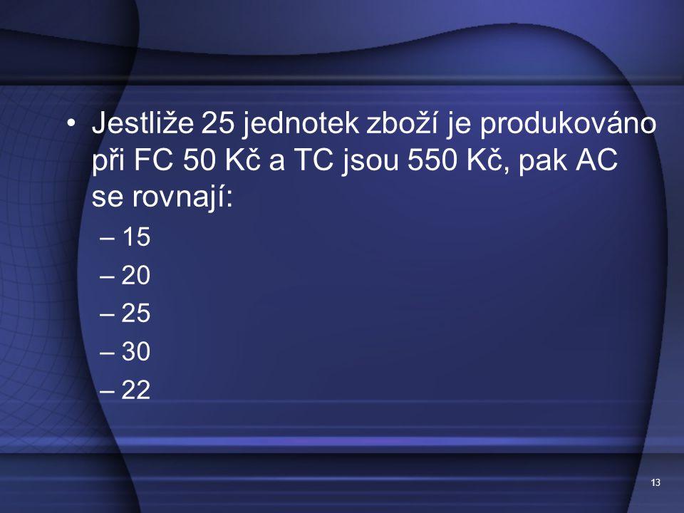 13 Jestliže 25 jednotek zboží je produkováno při FC 50 Kč a TC jsou 550 Kč, pak AC se rovnají: –15 –20 –25 –30 –22