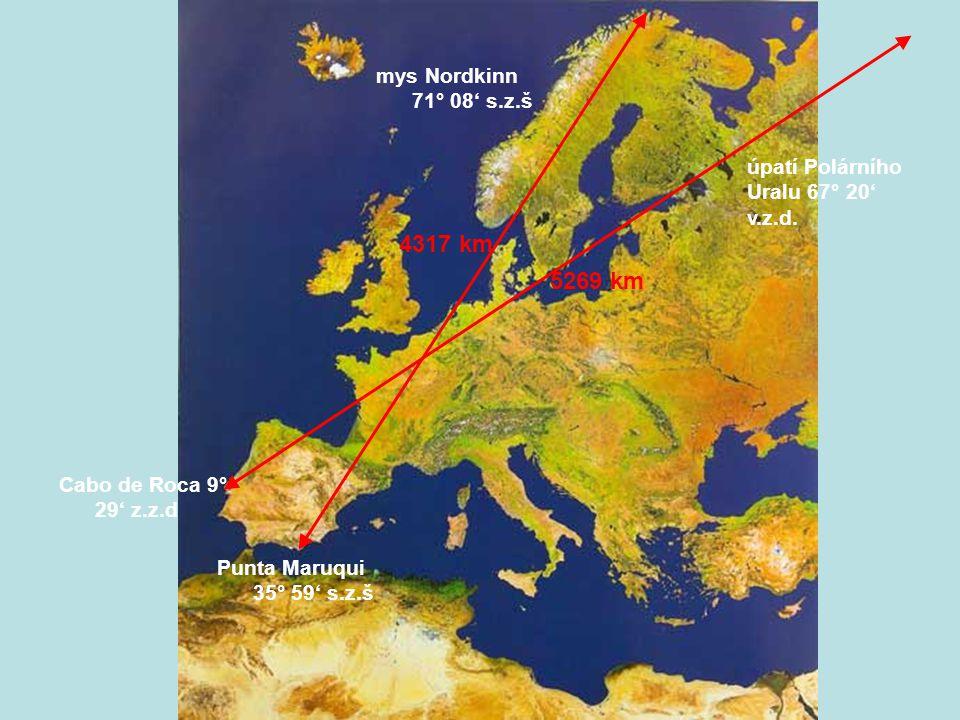Členitost povrchu Podle atlasu světa porovnej horizontální členitost Evropy s ostatními kontinenty.