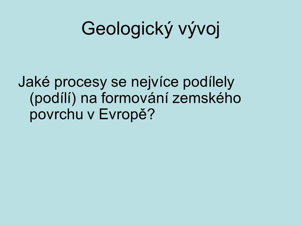 procesy formující povrch Evropy pevninotvorná činnost (pomalé pohyby litosféry) horotvorná činnost – vrásnění, tektonické poklesy a zdvihy sopečná a zemětřesná činnost