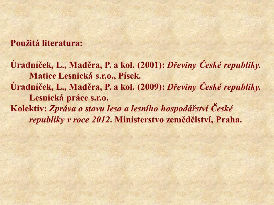 Použitá literatura: Úradníček, L., Maděra, P. a kol. (2001): Dřeviny České republiky. Matice Lesnická s.r.o., Písek. Úradníček, L., Maděra, P. a kol.