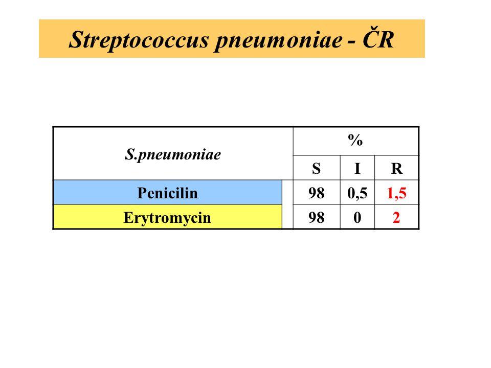 Streptococcus pneumoniae - ČR S.pneumoniae % SIR Penicilin980,51,5 Erytromycin9802