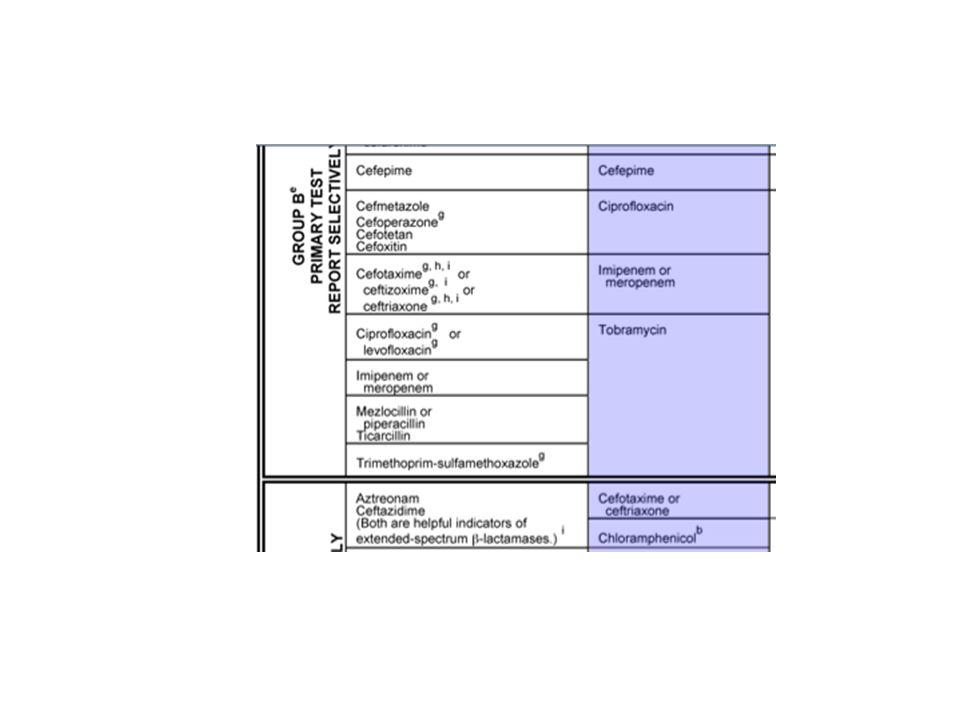 Resistence je způsobena kombinací účinku  - laktamáz, modifikací porinů a efflux systémem.
