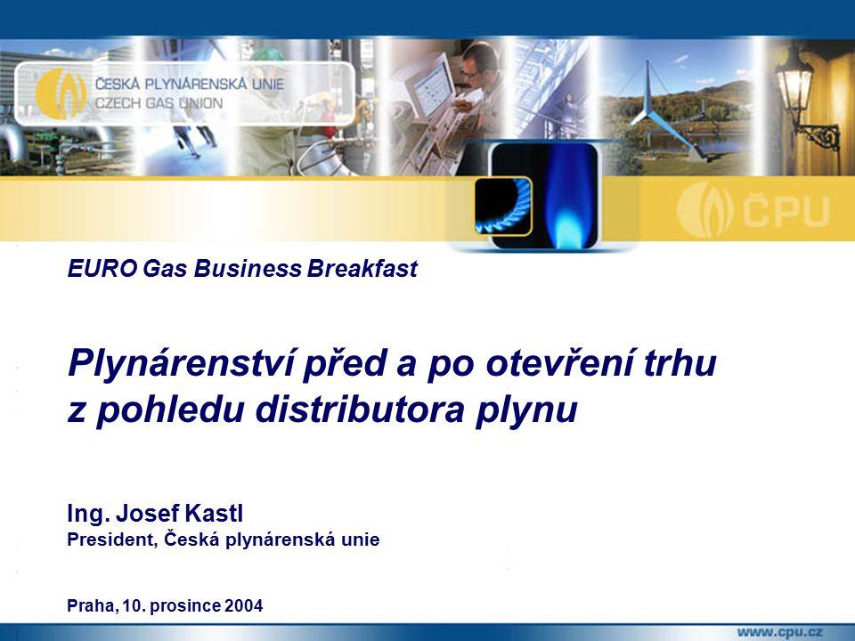 EURO Gas Business Breakfast Plynárenství před a po otevření trhu z pohledu distributora plynu Ing.