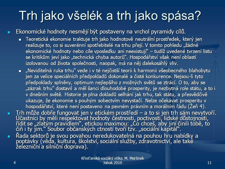 4 Křesťanská sociální etika. M. Martinek Jabok 201011 Trh jako všelék a trh jako spása.