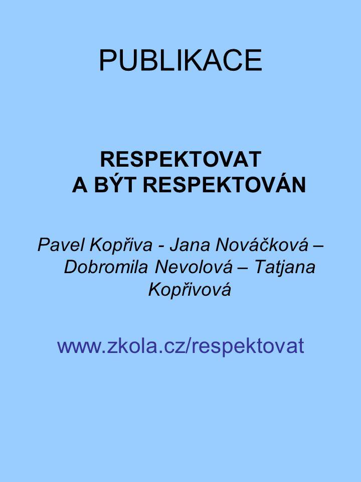PUBLIKACE RESPEKTOVAT A BÝT RESPEKTOVÁN Pavel Kopřiva - Jana Nováčková – Dobromila Nevolová – Tatjana Kopřivová www.zkola.cz/respektovat