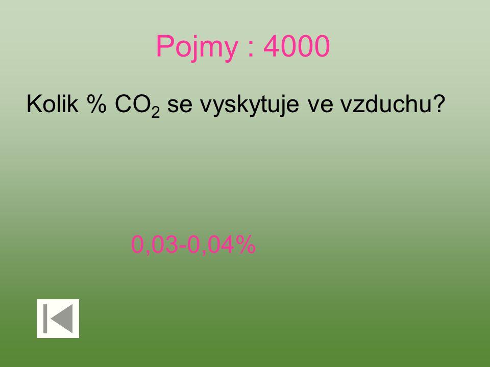 Pojmy : 4000 Kolik % CO 2 se vyskytuje ve vzduchu? 0,03-0,04%