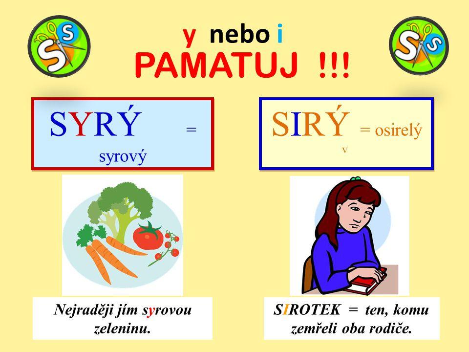 y nebo i PAMATUJ !!! SYRÝ = syrový Nejraději jím syrovou zeleninu. SIROTEK = ten, komu zemřeli oba rodiče. SIRÝ = osirelý v