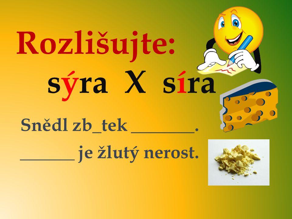Rozlišujte: sýra X síra Snědl zb_tek _______. ______ je žlutý nerost. sýra Síra y