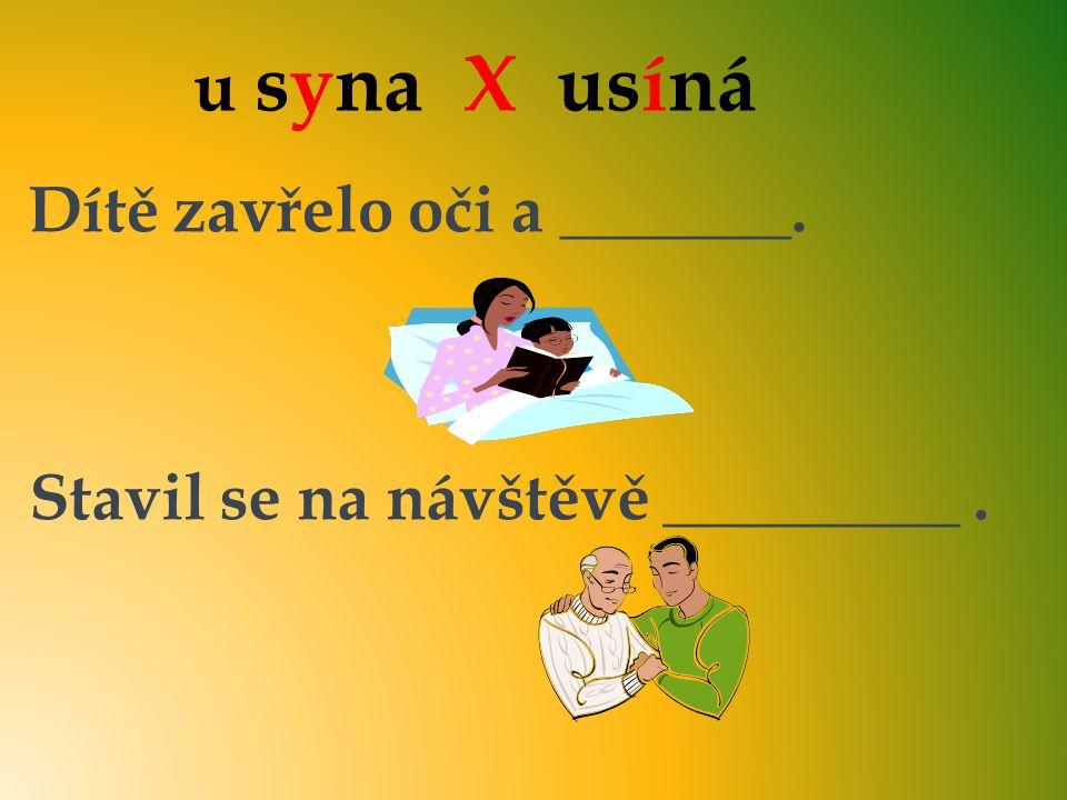 u syna X usíná Dítě zavřelo oči a _______. Stavil se na návštěvě _________. usíná u syna