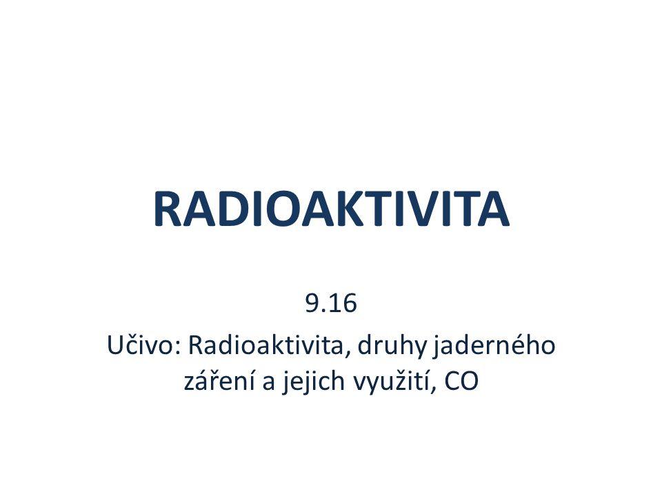 RADIOAKTIVITA 9.16 Učivo: Radioaktivita, druhy jaderného záření a jejich využití, CO