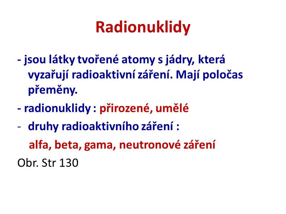 Radionuklidy - jsou látky tvořené atomy s jádry, která vyzařují radioaktivní záření.