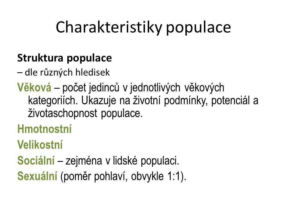 Charakteristiky populace Grafické znázornění věkové struktury populace Grafické znázornění 3 typy grafů: Pyramida- rozvíjející se populace, velké množství potomstva, ukazuje na ideální podmínky (např.