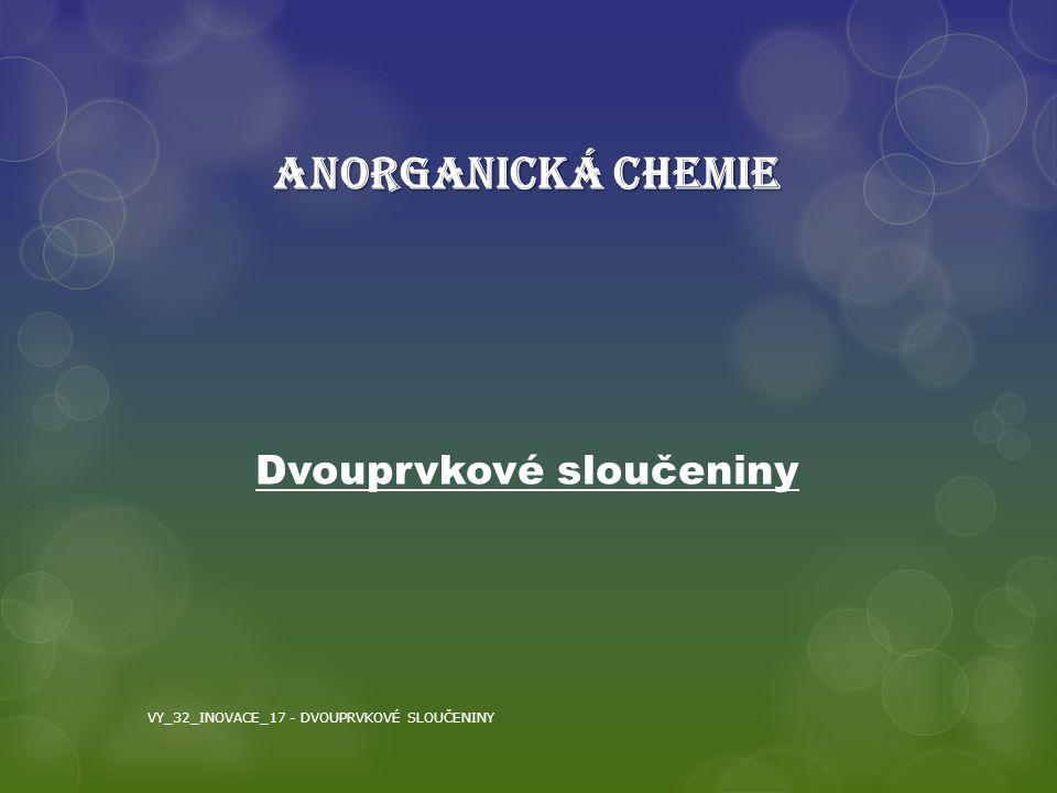 Dvouprvkové sloučeniny ANORGANICKÁ CHEMIE VY_32_INOVACE_17 - DVOUPRVKOVÉ SLOUČENINY